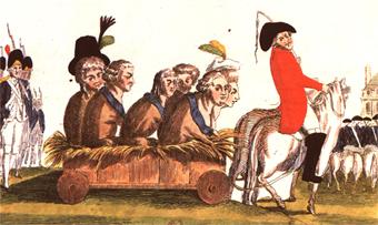 Caricature de la famille royale intitulée «La famille des cochons ramenée dans l'étable», anonyme
